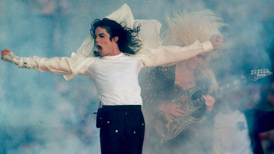 Michael Jackson performs during the halftime show at the Super Bowl XXVII in Pasadena, Calif.