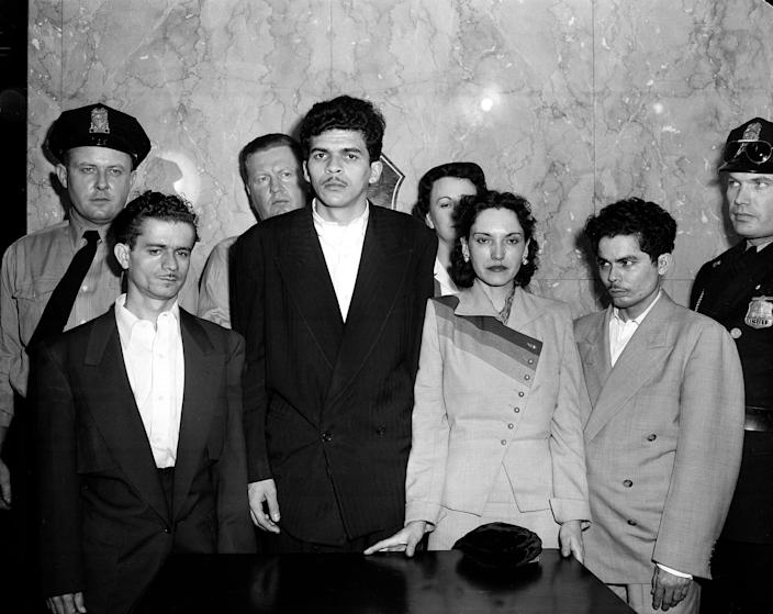 Puerto Rican nationalists Irvin Flores Rodriguez, Rafael Cancel Miranda, Lolita Lebron and Andres Figueroa Cordero, all from New York,  stand in a police lineup following their arrest on March 1, 1954. The group, under the leadership of Lebron, opened fire from the visitors' gallery onto the floor of the U.S. House of Representatives, wounding five congressmen.