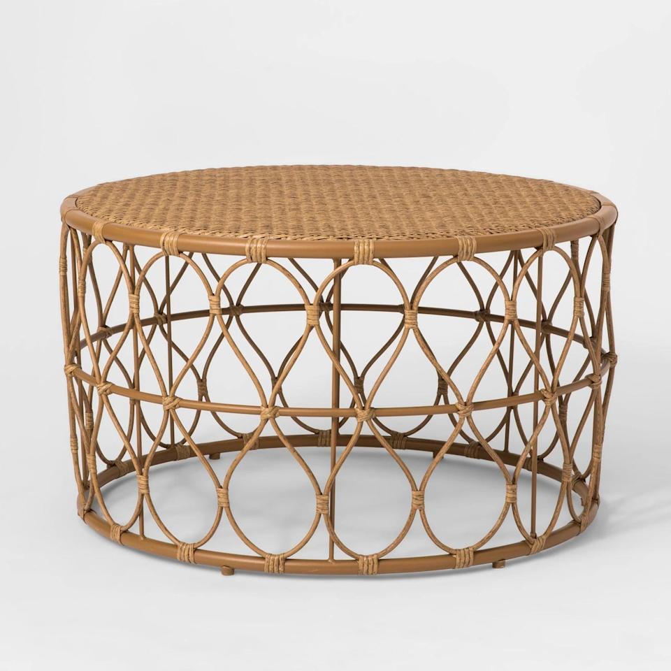 <p>Mix a statement piece into your outdoor living space with the <span>Britanna Patio Coffee Table</span> ($250).</p>