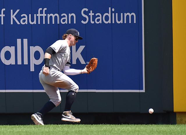 KANSAS CITY, MO - MAY 26: New York Yankees right fielder Clint Frazier (77) (Photo by Keith Gillett/Icon Sportswire via Getty Images)