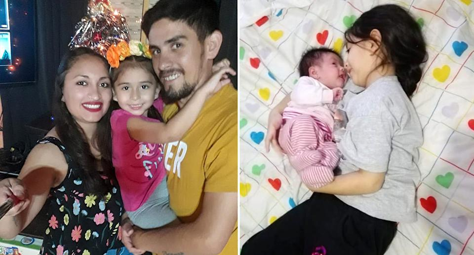 Lorena with Sebastian and their oldest daughter. The older girl lays down next to Lorena's newborn. Source: Newsflash/Australscope