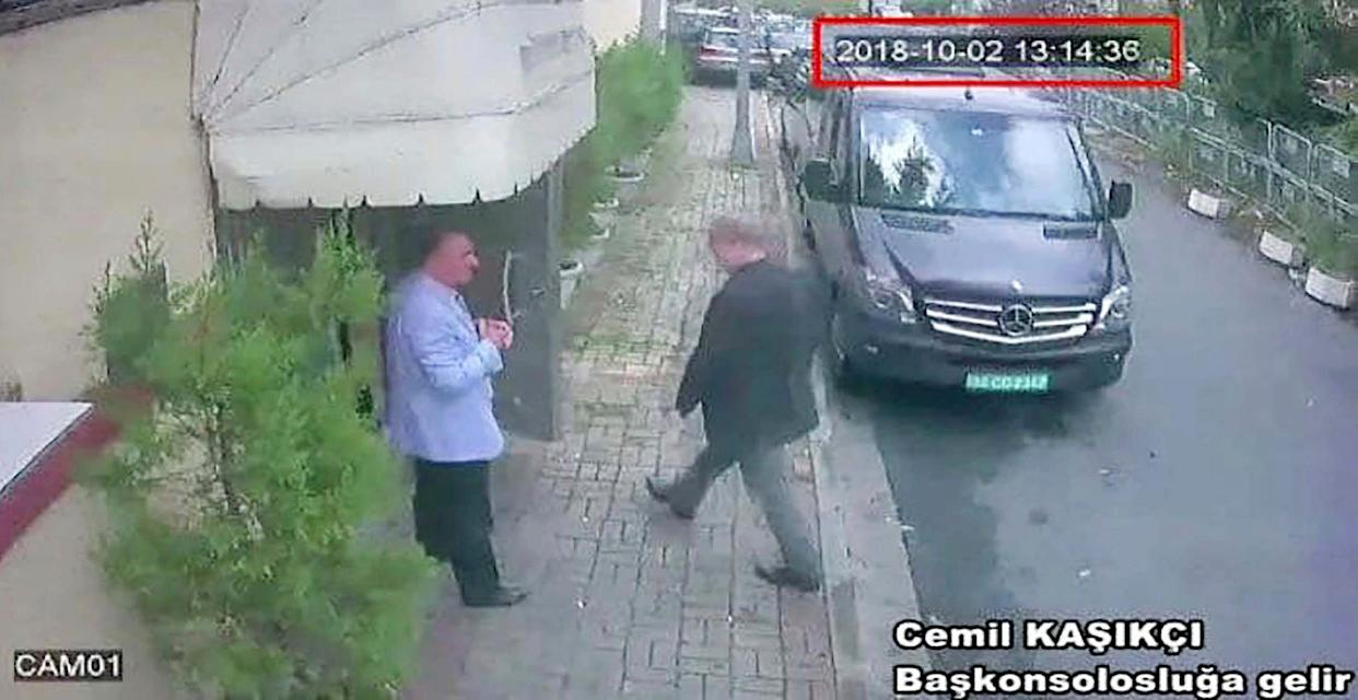 This image from CCTV video obtained by the Turkish newspaper Hurriyet reportedly shows Saudi journalist Jamal Khashoggi entering the Saudi consulate in Istanbul on Oct. 2, 2018. (Photo: CCTV via Hurriyet / Associated Press)