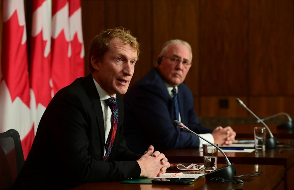 Indigenous Services Minister Marc Miller and Public Safety Minister Bill Blair hold a press conference in Ottawa on Oct. 19, 2020.                                                                                                                                     (Photo: Sean Kilpatrick/CP)