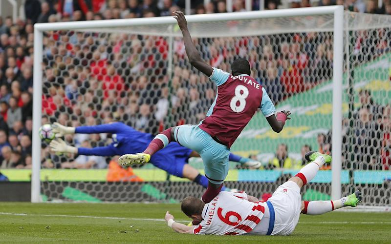 Cheikhou Kouyate is denied by Stoke - Rex Features