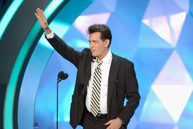 Charlie Sheen speaks onstage during the 2012 MTV Movie Awards at Gibson Amphitheatre in Universal City, Calif. on June 3, 2012  -- Getty Premium