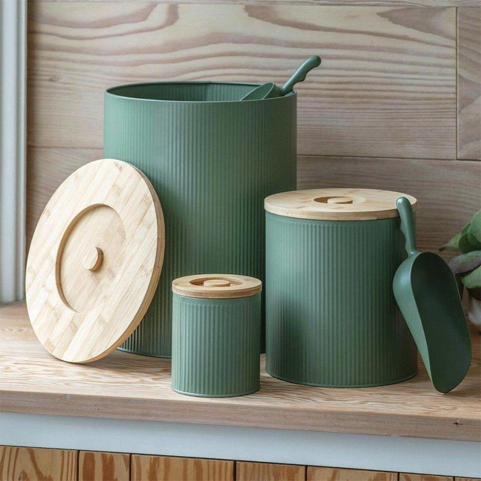 """<p>Keep their food fresh and your kitchen or utility area free of unwanted odours with these galvanised steel storage bins. Available in 'Thistle' or 'Lily White', they come with silicone sealed bamboo lids and a matching scoop – there's also a treat tin the same range. From £28, <a href=""""https://www.willowandstone.co.uk/"""" rel=""""nofollow noopener"""" target=""""_blank"""" data-ylk=""""slk:willowandstone.co.uk"""" class=""""link rapid-noclick-resp"""">willowandstone.co.uk</a></p>"""