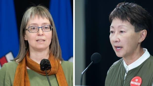 Dr. Deena Hinshaw, Alberta's chief medical officer of health, and Dr. Verna Yiu, president and CEO of Alberta Health Services, update the state of COVID-19 and impact on the province's hospitals.  (Photos: CBC News/Chris Schwarz, Government of Alberta - image credit)