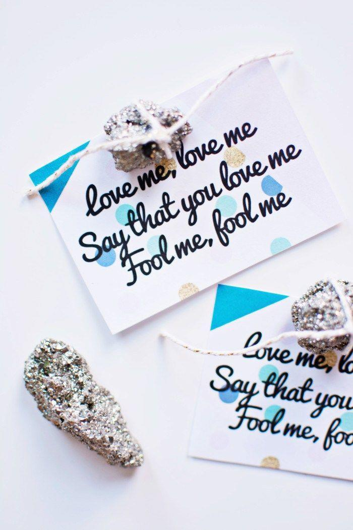 "<p>Calling all '90s kids! These Valentines are inspired by the hit 1996 song ""Lovefool"" by the Cardigans, and they even include fool's gold (pyrite) for a touch that's sure to dazzle the object of your affection. Basically, you'd be a fool <em>not</em> to make these! </p><p><strong>See more at <a href=""http://www.ajoyfulriot.com/?s=valentine%27s+day+card"" rel=""nofollow noopener"" target=""_blank"" data-ylk=""slk:A Joyful Riot"" class=""link rapid-noclick-resp"">A Joyful Riot</a>. </strong></p><p><a class=""link rapid-noclick-resp"" href=""https://www.amazon.com/Bulk-Genuine-Pyrite-Fools-Gold/dp/B004A8ULGQ?tag=syn-yahoo-20&ascsubtag=%5Bartid%7C2164.g.35084525%5Bsrc%7Cyahoo-us"" rel=""nofollow noopener"" target=""_blank"" data-ylk=""slk:SHOP FOOL'S GOLD PIECES"">SHOP FOOL'S GOLD PIECES </a></p>"
