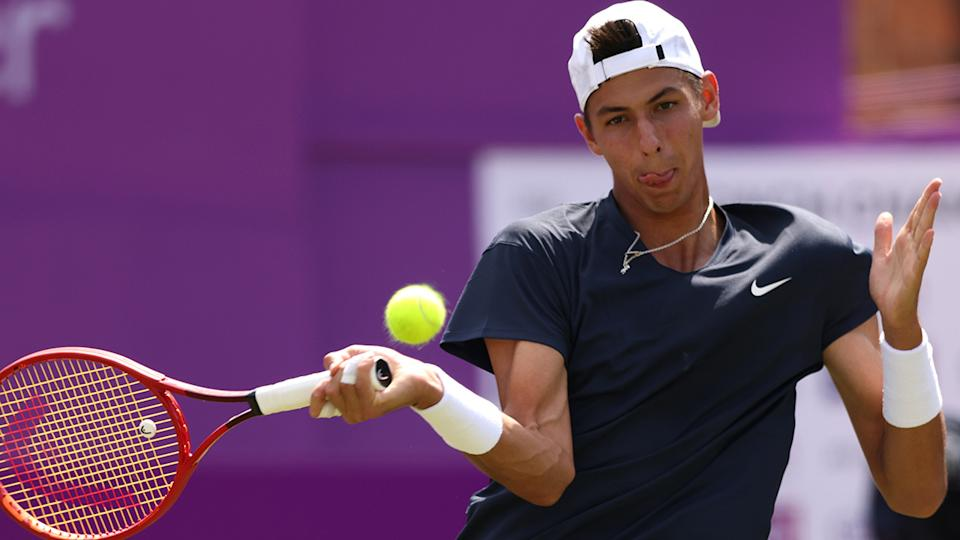 Alexie Popyrin snapped a five match losing streak by defeating Norbert Gombos at the Viking International. (Photo by Paul Harding/Getty Images for LTA)