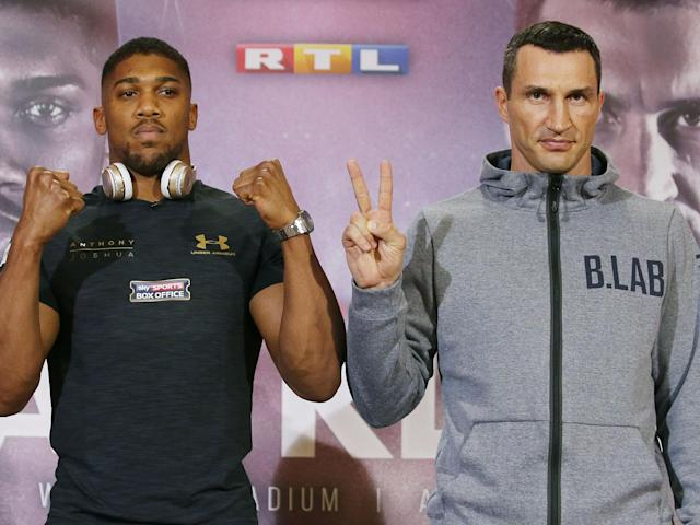 Anthony Joshua and Wladimir Klitschko meet at Wembley on Saturday: Getty