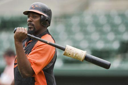 Baltimore Orioles designated hitter Vladimir Guerrero waits to hit in the batting cage during a workout before a MLB spring training game with the Tampa Bay Rays at Ed Smith Stadium in Sarasota, Florida, March 1, 2011. REUTERS/Steve Nesius