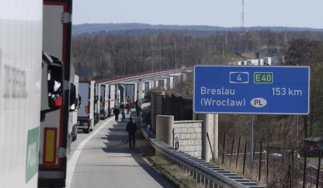 Trucks stuck in traffic at the Polish border near Goerlitz, Germany. Poland has closed its borders with Germany and other EU neighbouring countries to foreigners amid the coronavirus pandemic. Photo: AP