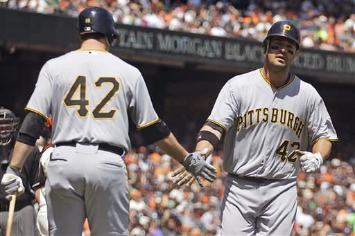 Pittsburgh Pirates' Garrett Jones, right, is congratulated by Neil Walker, left, after Jones hit a home run off San Francisco Giants' Ryan Vogelsong during the second inning of a baseball game Sunday, April 15, 2012, in San Francisco. (AP Photo/Ben Margot)
