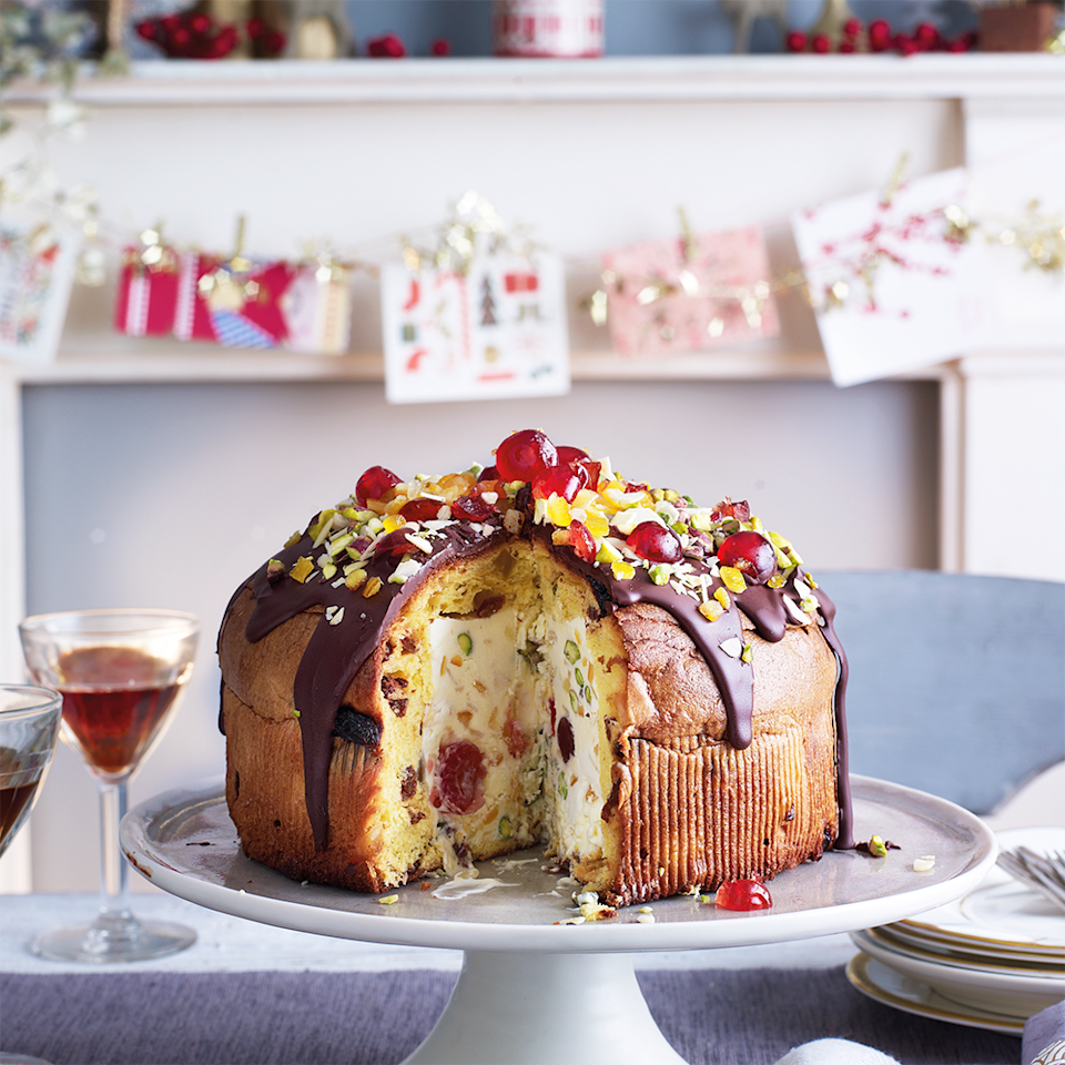 """<p>This striking pudding is amazingly easy to make but will wow your guests. The simple, no-churn ice cream can be replaced with 1 litre (1¾ pint) bought vanilla ice cream, if you wish.</p><p><strong>Recipe: <a href=""""https://www.goodhousekeeping.com/uk/food/recipes/a565540/panettone-party-bombe/"""" rel=""""nofollow noopener"""" target=""""_blank"""" data-ylk=""""slk:Panettone party bombe"""" class=""""link rapid-noclick-resp"""">Panettone party bombe</a></strong></p>"""