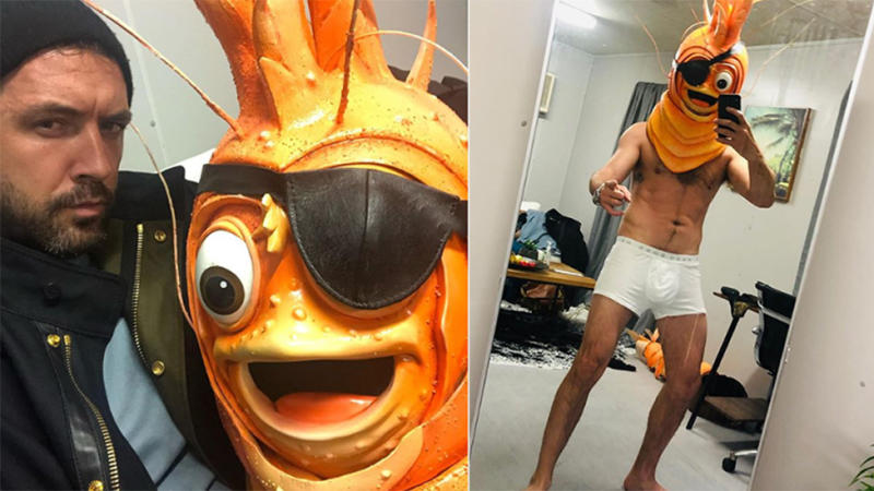 Darren McMullen pictured as Prawn on Masked Singer
