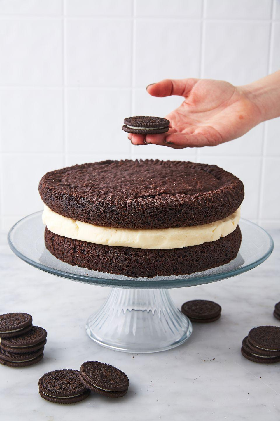 """<p>This is <em>way </em>beyond double stuffed.</p><p>Get the recipe from <a href=""""https://www.delish.com/cooking/recipe-ideas/recipes/a51819/giant-oreo-cake-recipe/"""" rel=""""nofollow noopener"""" target=""""_blank"""" data-ylk=""""slk:Delish"""" class=""""link rapid-noclick-resp"""">Delish</a>.</p>"""