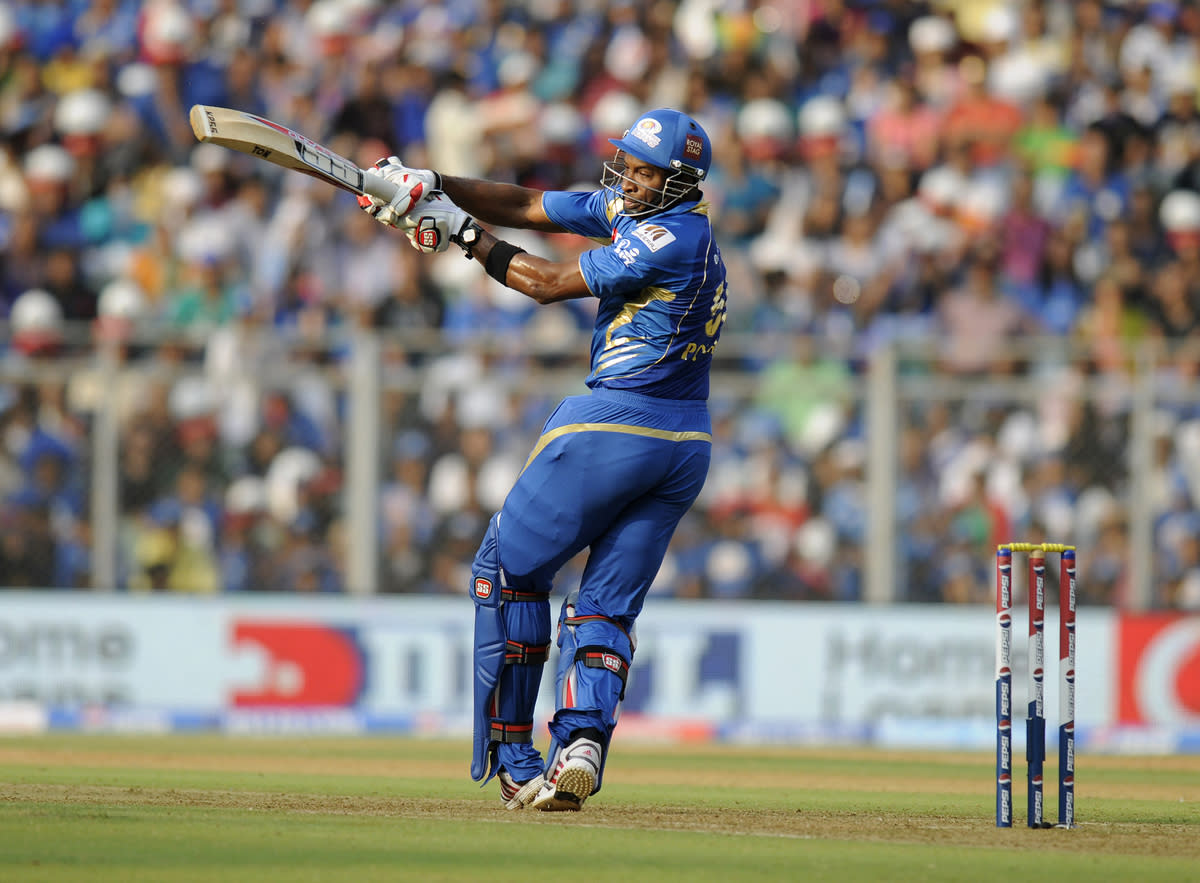 Kieron Pollard of Mumbai Indians bats during match 15 of the Pepsi Indian Premier League ( IPL) 2013  between The Mumbai Indians and the Pune Warriors India  held at the Wankhede Stadium in Mumbai on the 13th April 2013 ..Photo by Pal Pillai-IPL-SPORTZPICS  ..Use of this image is subject to the terms and conditions as outlined by the BCCI. These terms can be found by following this link:..https://ec.yimg.com/ec?url=http%3a%2f%2fwww.sportzpics.co.za%2fimage%2fI0000SoRagM2cIEc.&t=1506172641&sig=yAacWeinQxmSyMkhUeheSg--~D
