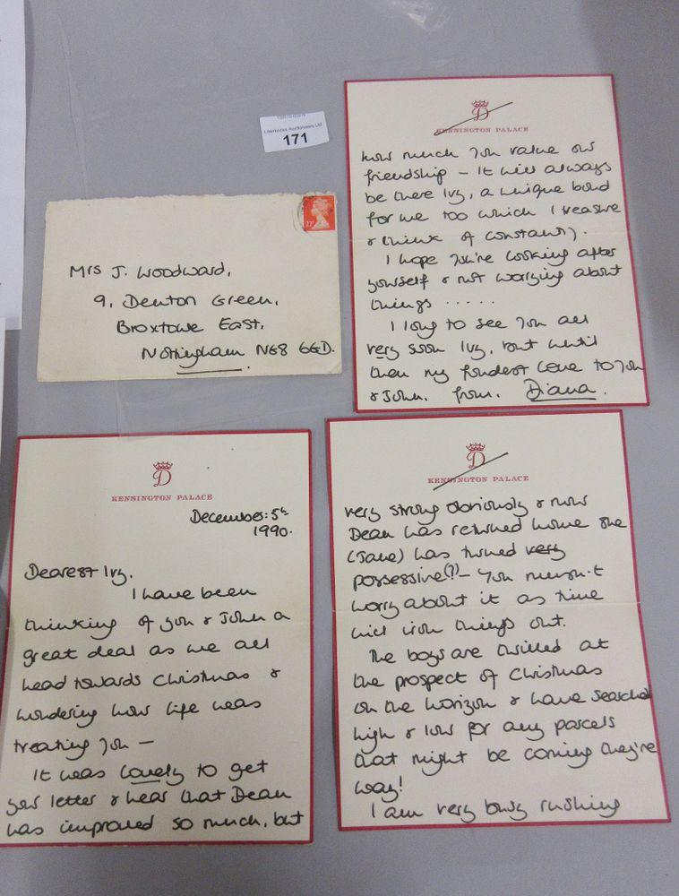 Princess Diana Christmas letter up for auction. | LawrencesAuctioneers/BNPS