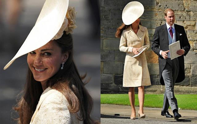 "<p>Back in 2011, when Zara Tindall, then Phillips, wed Mike Tindall, almost the entire royal family attended. For the occasion, the Duchess of Cambridge wore a pale gold, embroidered coat dress from DAY Birger et Mikkelsen that she'd had in her wardrobe for a few years. In 2006, she was photographed wearing it to the wedding of Laura Parker Bowles and Harry Lopes. The Duchess' statement hat came from <a href=""http://www.ginafoster.co.uk/"" rel=""nofollow noopener"" target=""_blank"" data-ylk=""slk:Gina Foster Millinery"" class=""link rapid-noclick-resp"">Gina Foster Millinery</a>. <em>(Photo: PA)</em> </p>"