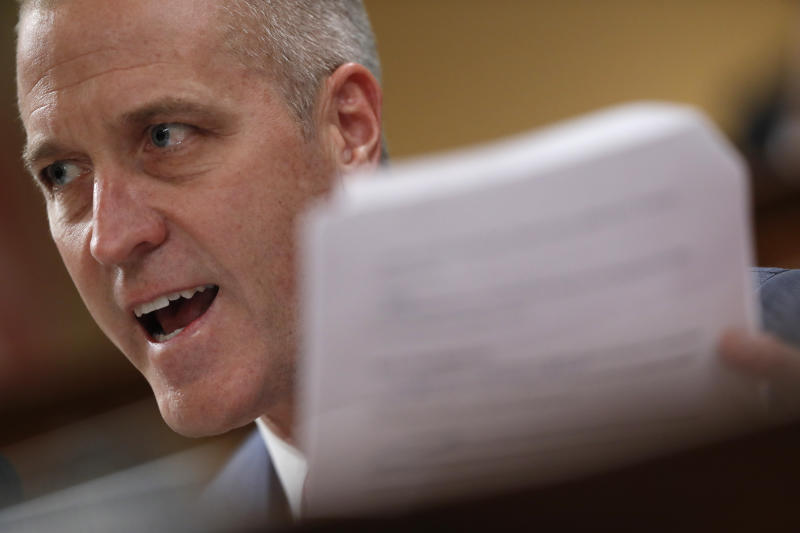 Rep. Sean Patrick Maloney, D-N.Y., questions U.S. Ambassador to the European Union Gordon Sondland (AP Photo/Andrew Harnik)