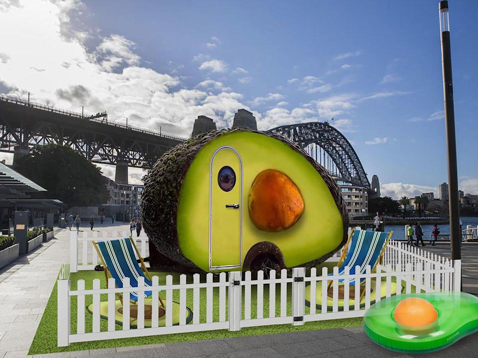 This adorable little avocado hotel room has scenic views of the Sydney Opera House and the Pacific Ocean.