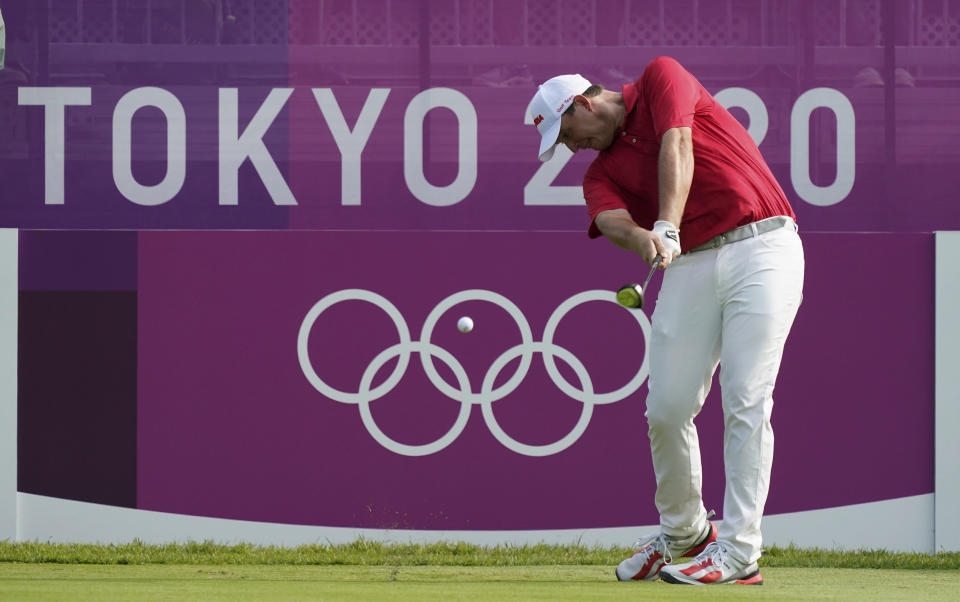 Austria's Sepp Straka hits a tee shot on the first hole during the first round of the men's golf event at the 2020 Summer Olympics on Wednesday, July 28, 2021, at the Kasumigaseki Country Club in Kawagoe, Japan. (AP Photo/Matt York)