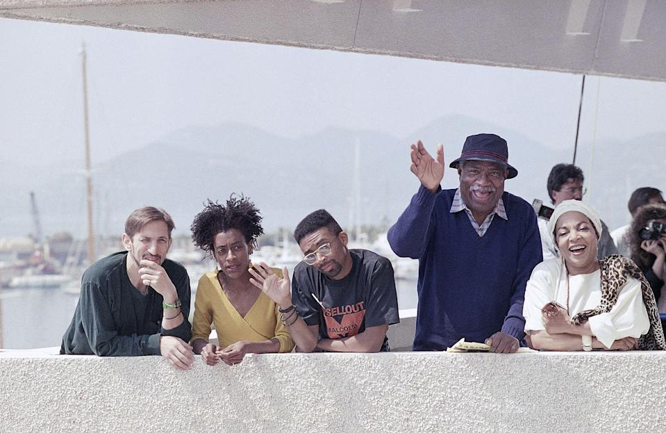 """""""Do the Right Thing"""" at the Cannes Film Festival; from left, Richard Edson, Joie Lee, Spike Lee, Ossie Davis, and Ruby Dee - Credit: Remy de la Mauviniare/AP"""