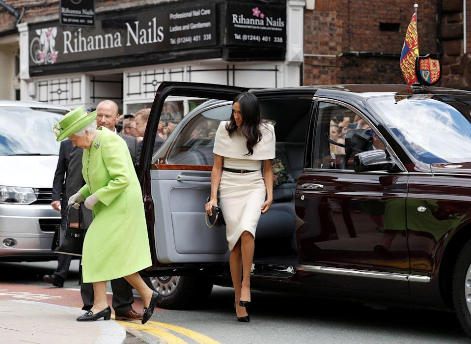 """<p>During Meghan's first official event with the Queen back in June 2018, Meghan didn't know whether to get in the car before the monarch or after and <a href=""""https://www.insider.com/meghan-markle-royal-protocol-2017-12#on-her-first-engagement-with-the-queen-markle-wasnt-sure-who-was-supposed-to-enter-the-car-first-10"""" rel=""""nofollow noopener"""" target=""""_blank"""" data-ylk=""""slk:was heard"""" class=""""link rapid-noclick-resp"""">was heard</a> asking the Queen, """"What's your preference?"""" The Queen then gestured for Meghan to get into the car first, so that she could get her usual spot, which is the seat behind the driver. Close call, but it worked out! </p>"""