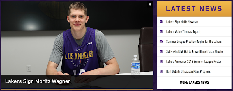 3268d719730 The Lakers front page doesn't have any mention of LeBron yet. (Lakers.com)