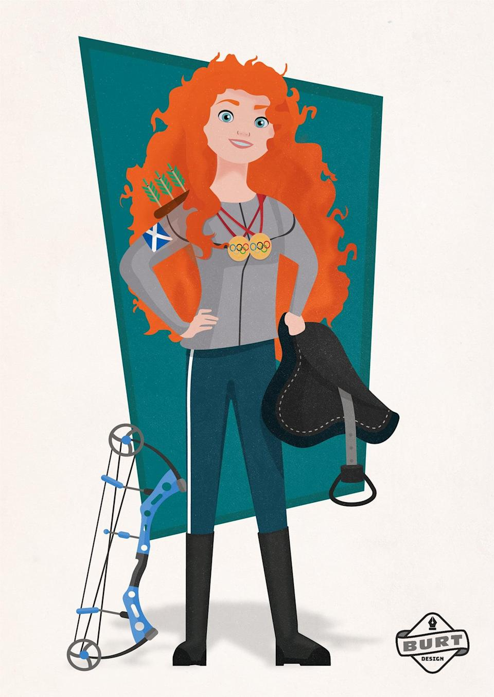 """<p><strong>Matt's explanation:</strong> """"Merida competed for her own hand in marriage, so why not for a gold medal in the Olympics? Skilled in both archery and horseback riding, Merida competes for her country in multiple events. She's already won multiple golds but aims to add a few more in the 2020 Olympic Games in Tokyo.""""</p>"""