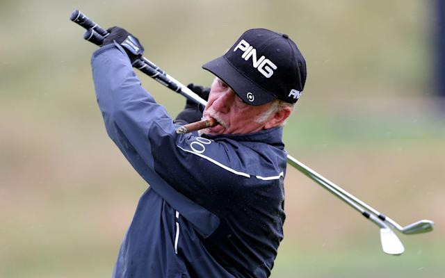 Miguel Ángel Jiménez practises with his cigar in his mouth ahead of the Open at Royal Portrush - PA