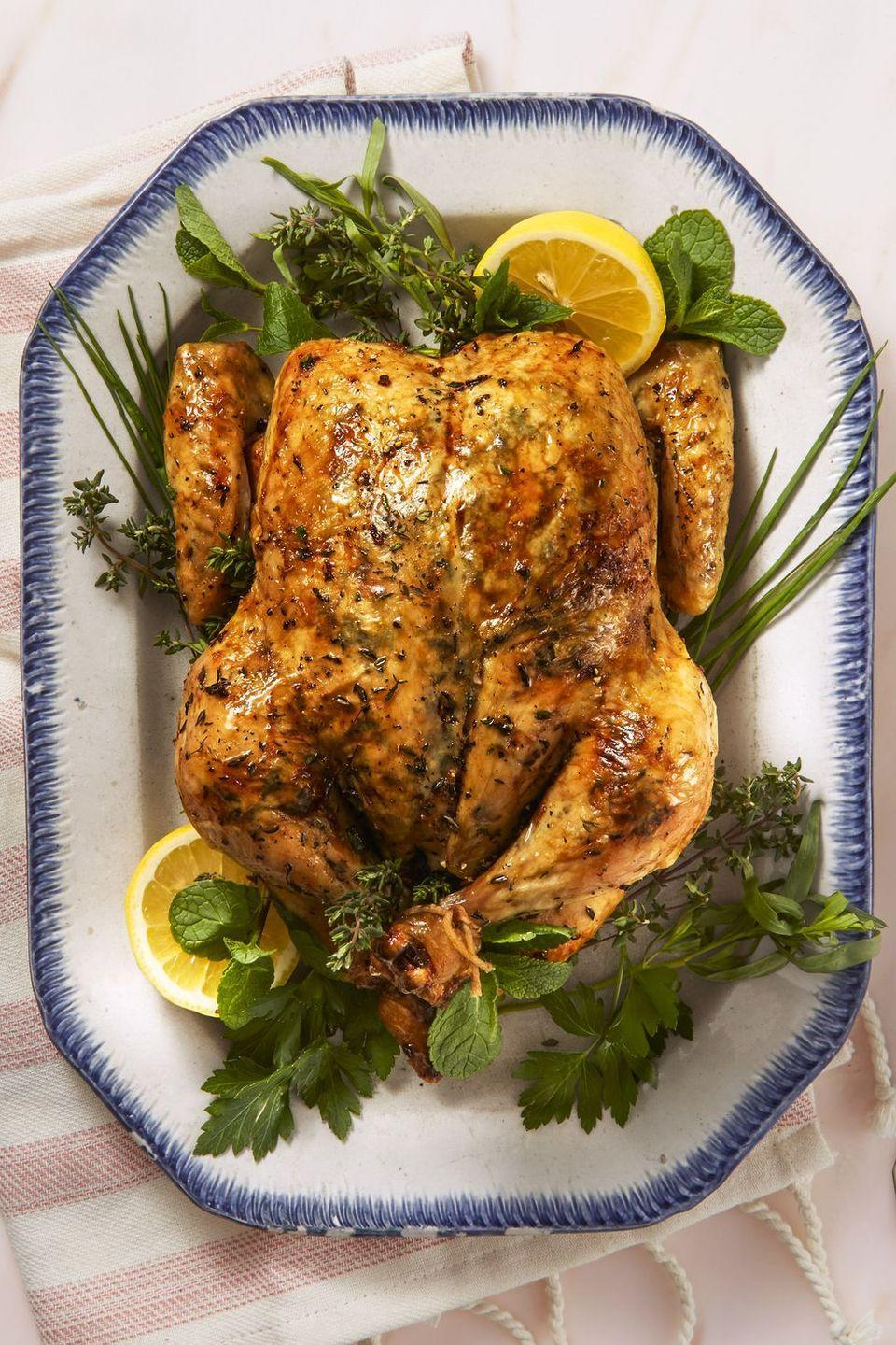 """<p>A classic roast chicken recipe gets an upgrade with lemon, garlic and thyme.</p><p><em><a href=""""https://www.goodhousekeeping.com/food-recipes/healthy/a43668/lemony-herb-roast-chicken-recipe/"""" rel=""""nofollow noopener"""" target=""""_blank"""" data-ylk=""""slk:Get the recipe for Lemony Herb Roast Chicken »"""" class=""""link rapid-noclick-resp"""">Get the recipe for Lemony Herb Roast Chicken »</a></em></p>"""