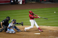 Los Angeles Angels' Justin Upton connects for a grand slam home run during the seventh inning of a baseball game against the Minnesota Twins Friday, April 16, 2021, in Anaheim, Calif. (AP Photo/Marcio Jose Sanchez)