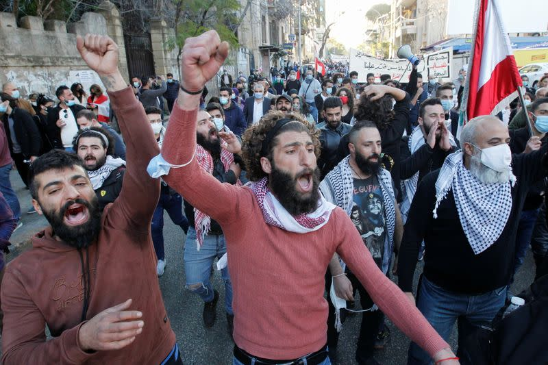 Protest against the fall in Lebanese pound currency and mounting economic hardships in Beirut