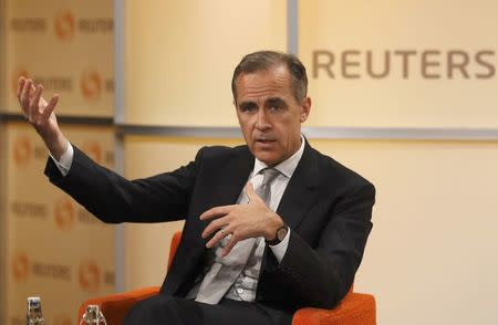 FILE PHOTO: Mark Carney, Governor of the Bank of England, speaks at a Reuters Newsmaker event in London, Britain April 7, 2017.  REUTERS/Peter Nicholls