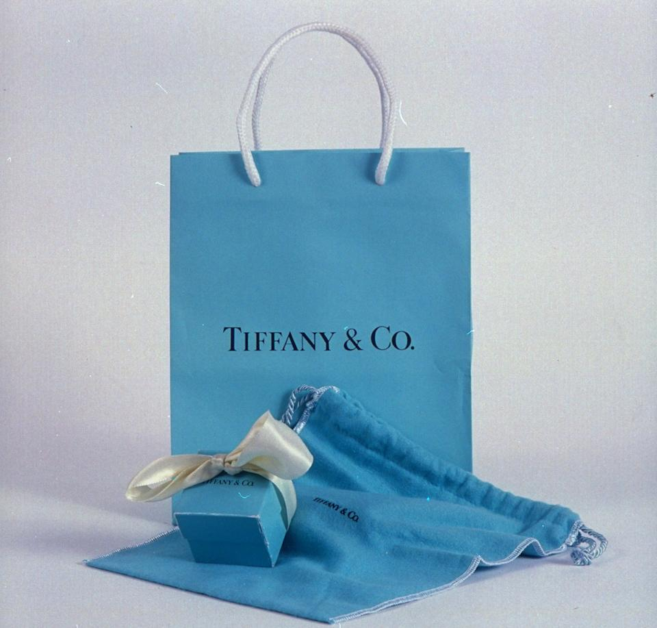 Tiffany & Co. shopping bag, ribbon-tied box & jewelry pouch.  Photo: James Keyser/The LIFE Images Collection via Getty Images/Getty Images