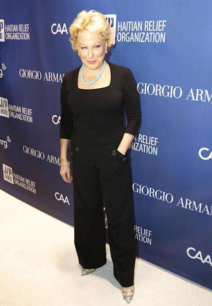 Bette Midler arrives at the 3rd Annual Sean Penn & Friends HELP HAITI HOME Gala on Saturday, Jan. 11, 2014 at the Montage Hotel in Beverly Hills, Calif. (Photo by Colin Young-Wolff /Invision/AP)