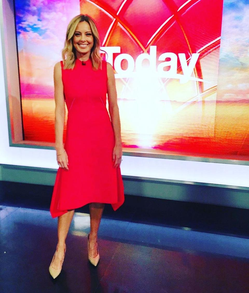 Allison Langdon in a red dress on Today