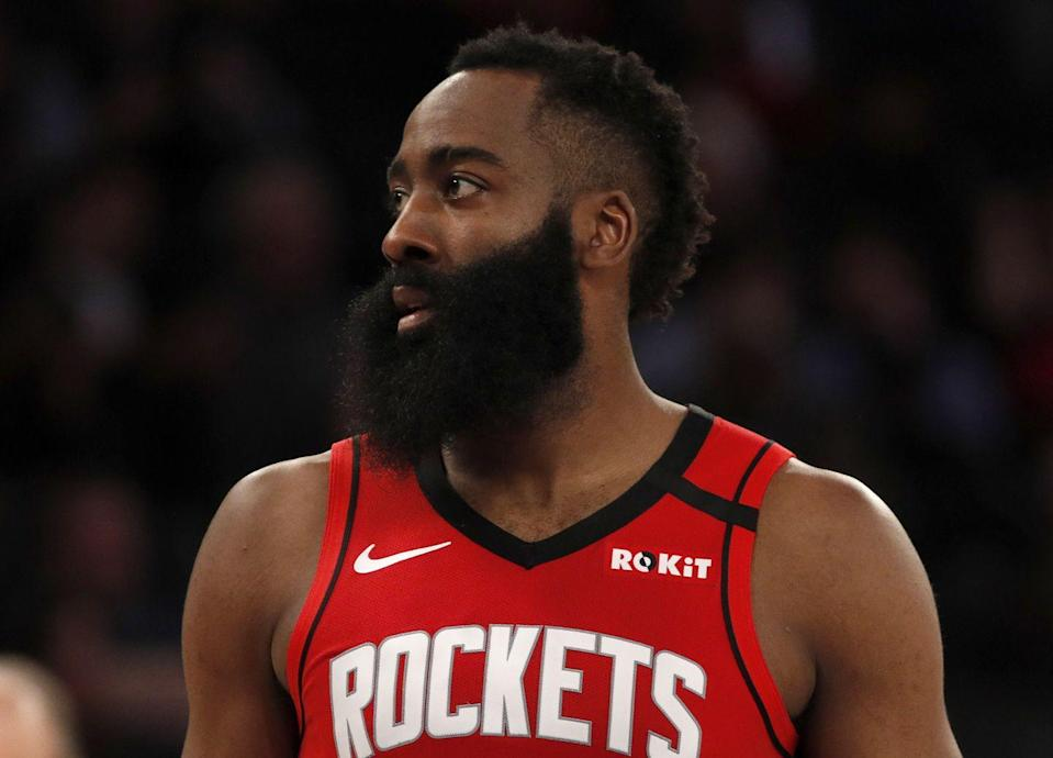 """<p>Strength alone won't allow Harden to endure the grueling physical demands of the NBA's relentless schedule. That's why Harden's trainer Paul Fabritz's philosophy isn't just about building muscle. """"It's about explosiveness,"""" he told <em><a href=""""https://www.menshealth.com/fitness/a28507120/james-harden-workout/"""" rel=""""nofollow noopener"""" target=""""_blank"""" data-ylk=""""slk:Men's Health"""" class=""""link rapid-noclick-resp"""">Men's Health</a></em>. <em>""""</em>It's about his movements on the court.""""</p><p><a class=""""link rapid-noclick-resp"""" href=""""https://www.youtube.com/watch?v=H2vtOdsXhig"""" rel=""""nofollow noopener"""" target=""""_blank"""" data-ylk=""""slk:Watch here"""">Watch here</a></p>"""