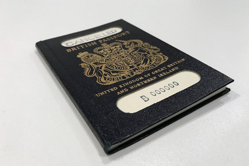 The original blue passport, which was subsequently replaced by the burgundy EU British design: REUTERS