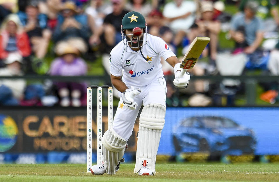Pakistan batsman Mohammad Rizwan reacts while batting during play on the first day of the second cricket test between Pakistan and New Zealand at Hagley Oval, Christchurch, New Zealand, Sunday, Jan 3. 2021. (John Davidson/Photosport via AP)