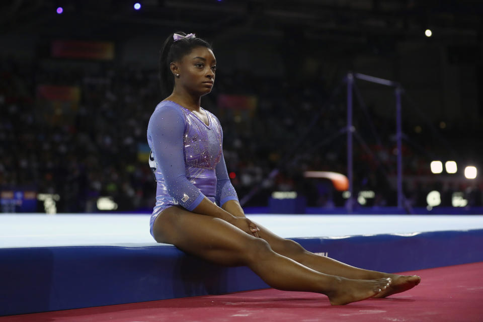 Simone Biles will not compete this year due to COVID-19 related cancellations.  (AP Photo/Matthias Schrader)