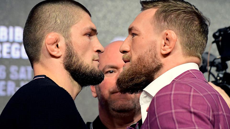 Khabib Nurmagomedov and Conor McGregor, pictured here during a UFC 229 press conference.