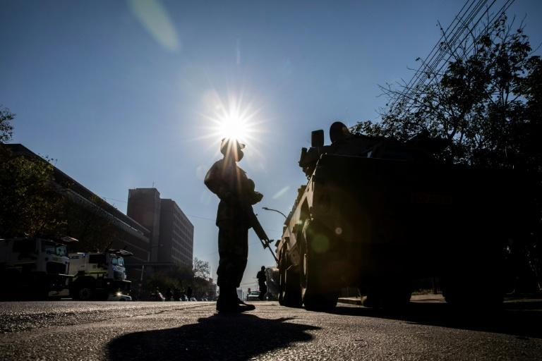 A soldier stands guard outside the High Court in Pietermaritzburg