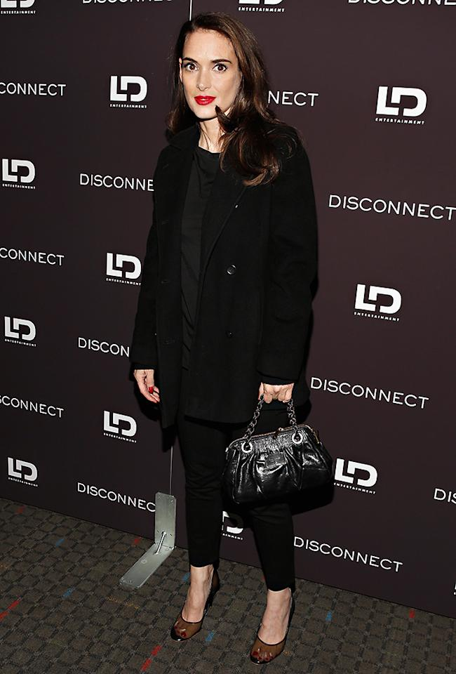 "NEW YORK, NY - APRIL 08:  Actress Winona Ryder attends the ""Disconnect"" New York Special Screening at SVA Theater on April 8, 2013 in New York City.  (Photo by Cindy Ord/Getty Images)"