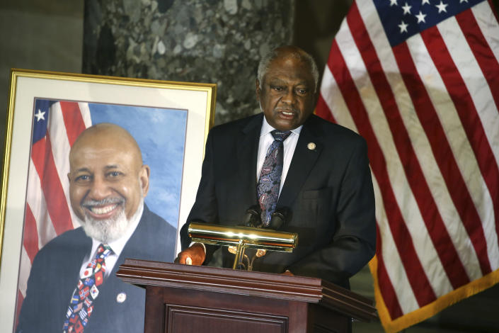 House Majority Whip James Clyburn, D-S.C., speaks during a Celebration of Life for Rep. Alcee Hastings, D-Fla., in Statuary Hall on Capitol Hill in Washington, Wednesday, April 21, 2021. Hastings died earlier this month, aged 84, following a battle with pancreatic cancer. (Tasos Katopodis/Pool via AP)