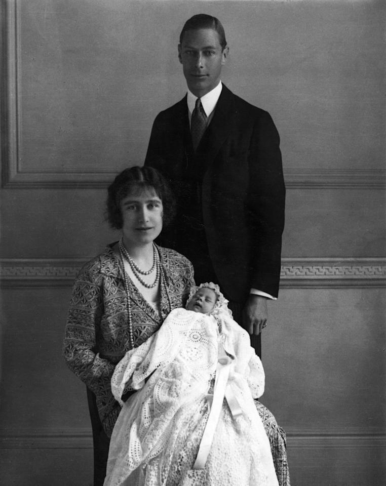 <p>Princess Elizabeth was born on April 21, 1926. Her parents, the Duke and Duchess of York, hold her at her christening in this photo.</p>