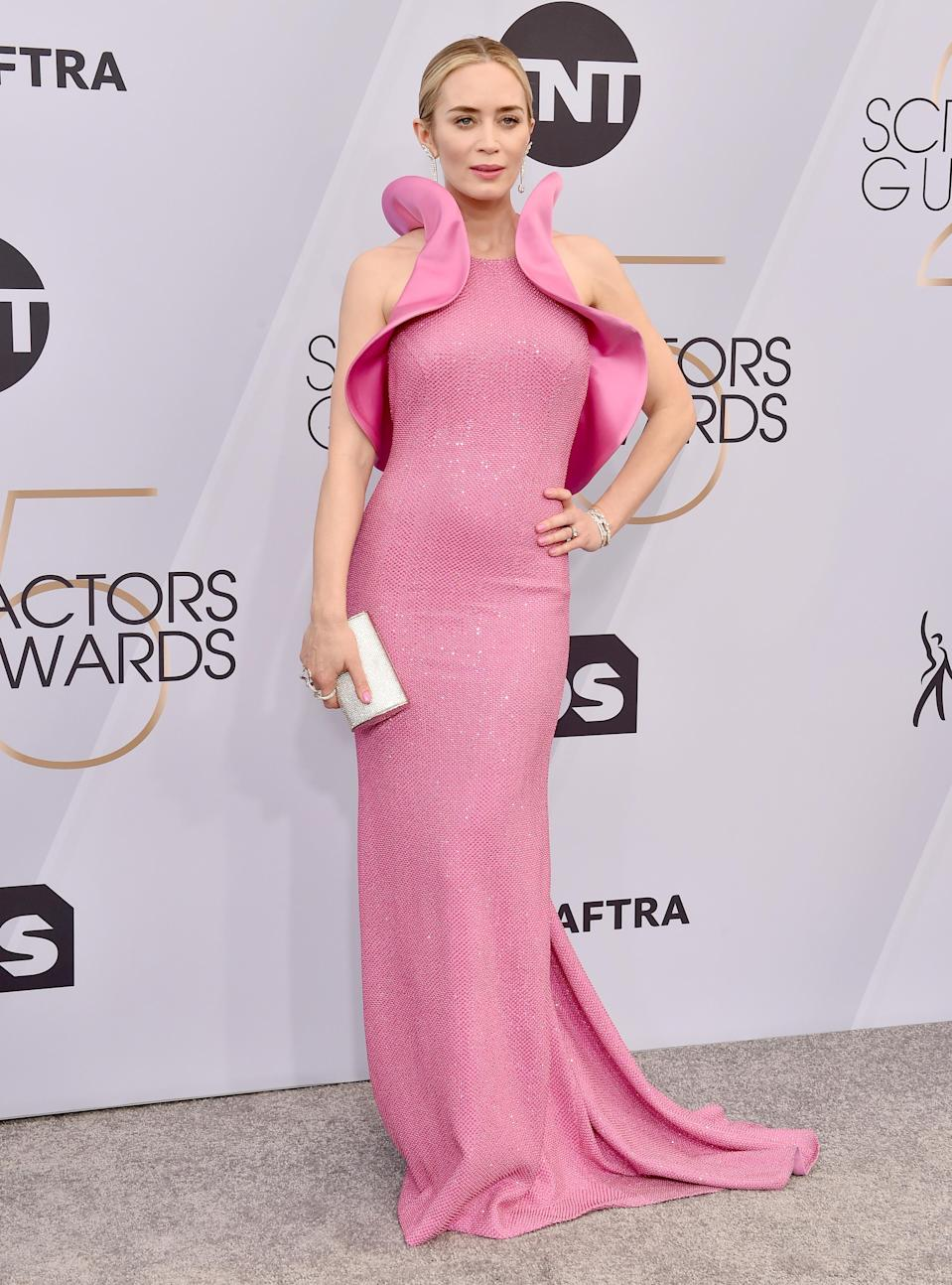 <p>Never one to put a fashion foot wrong, Emily Blunt wore a bespoke Michael Kors dress at the 2019 SAG Awards on January 27. <em>[Photo: Getty]</em> </p>