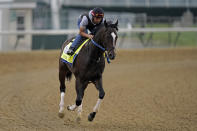Kentucky Derby entrant Super Stock works out at Churchill Downs Wednesday, April 28, 2021, in Louisville, Ky. The horse is co-owned by trainer Steve Asmussen's parents with a partner. (AP Photo/Charlie Riedel)