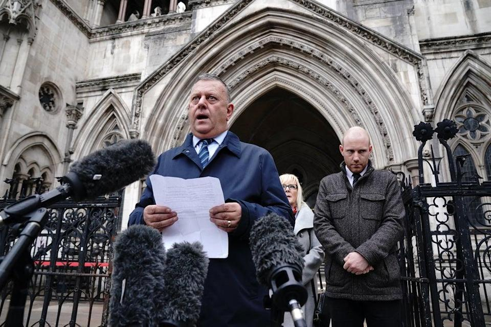 Gary Furlong, the father of James Furlong, outside the Royal Courts Of Justice (Jonathan Brady/PA) (PA Wire)